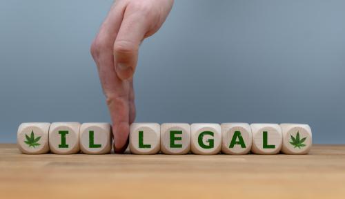 "Blocks that say ""Illegal"" referring to marijuana"